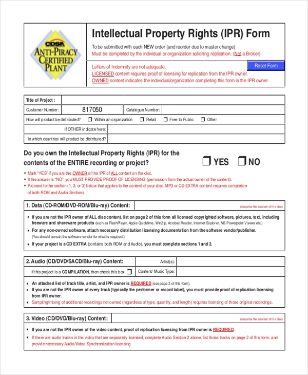 intellectual property rights form