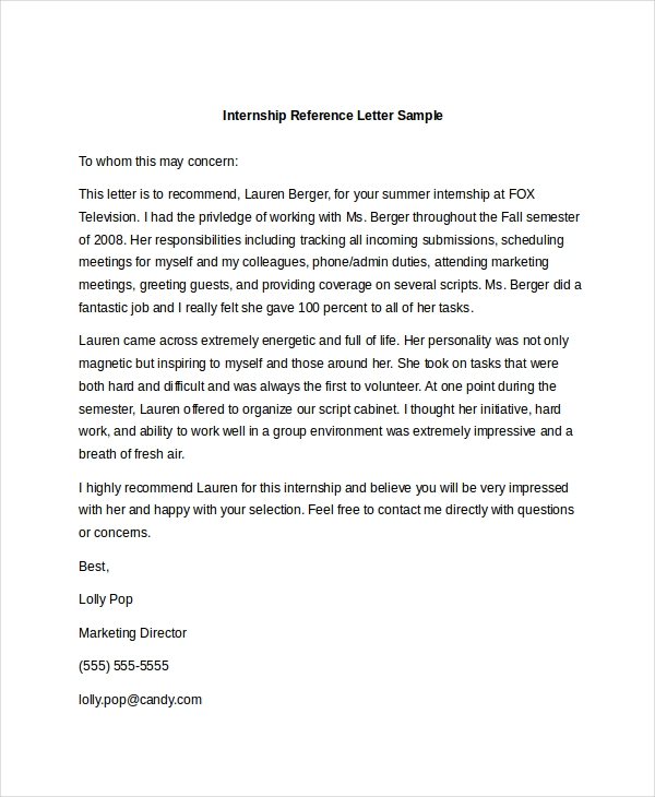 free 10  sample reference letter