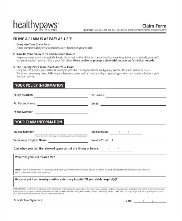 invoice claim form