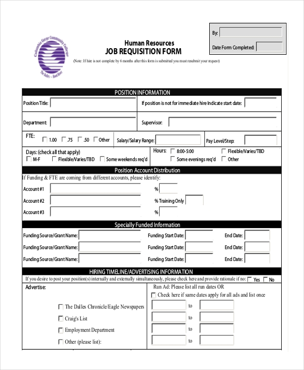 Job Requisition Form Template Sample Requisition Form   11 Free Documents  In Doc, PDF,