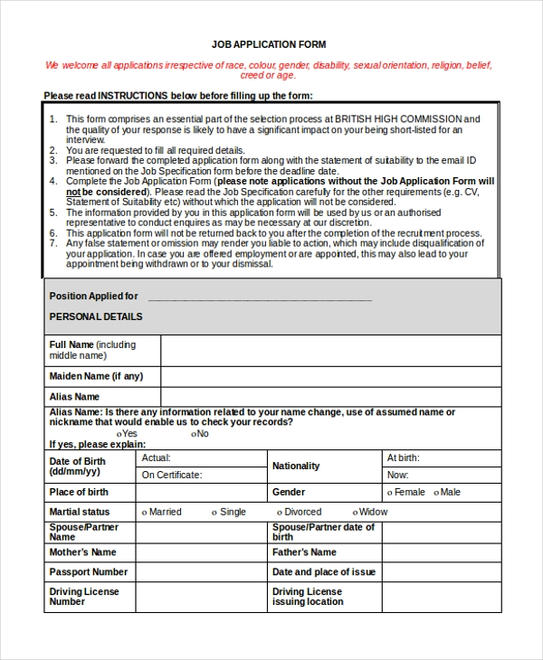 Sample Application Form   Free Documents In Doc Pdf