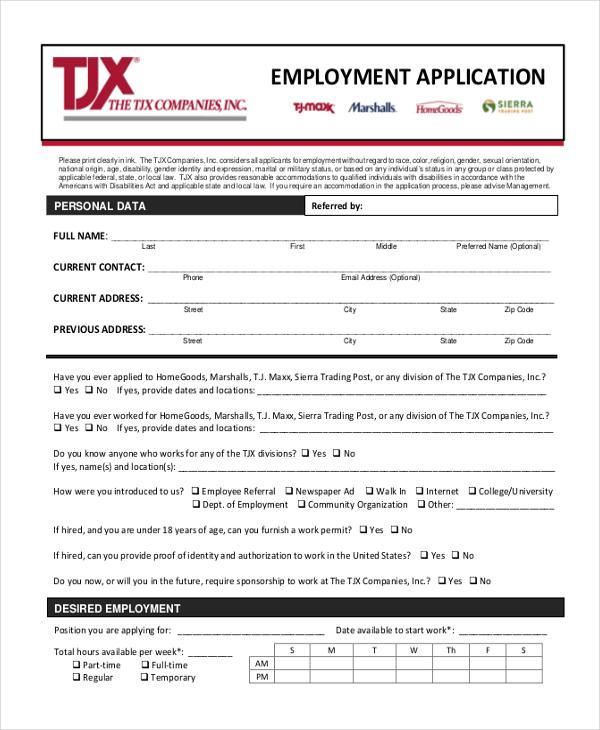 job employment application