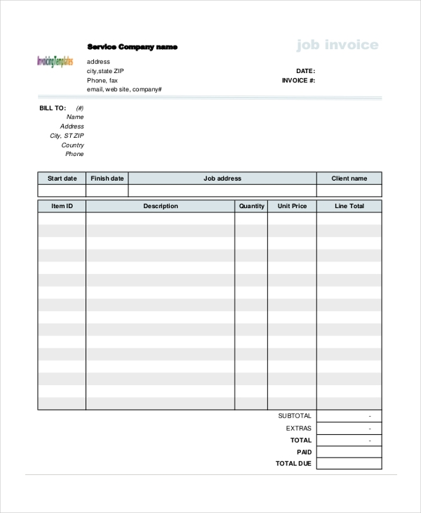 job invoice form