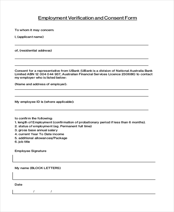 Sample Job Verification Form   Free Documents In Pdf