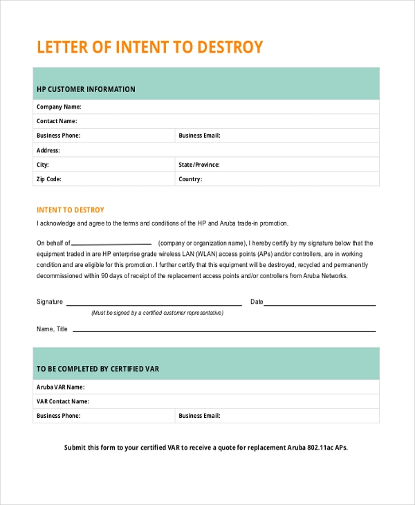Letter Of Intent Sample   Free Documents In Pdf Doc