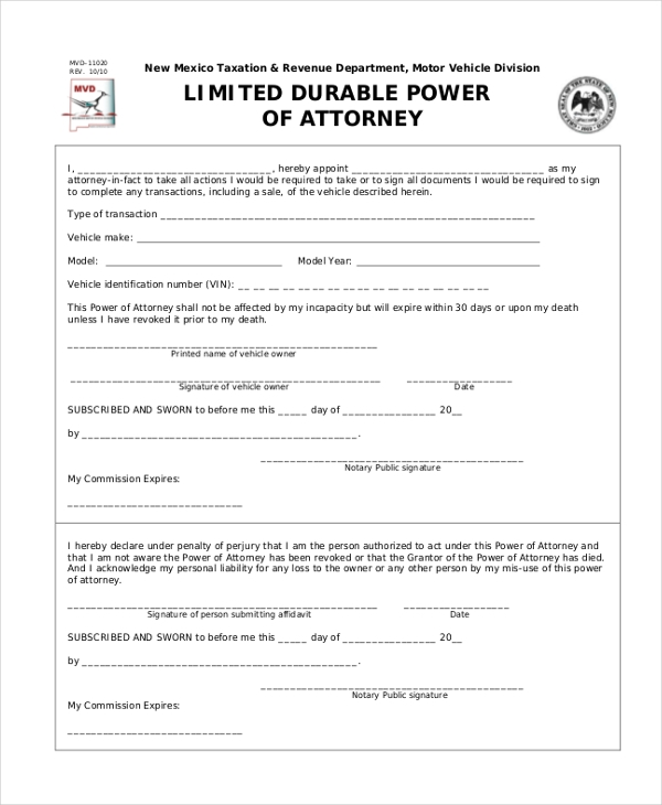 Sample Durable Power Of Attorney Form 10 Free Documents
