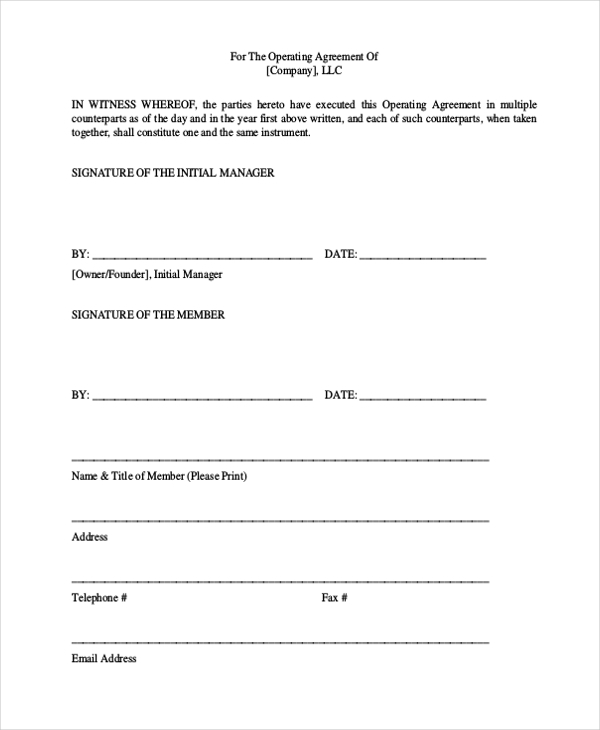 Sample Operating Agreement Form 10 Free Documents In