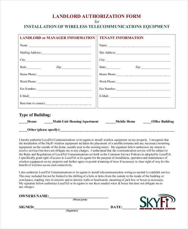 landlord authorization form