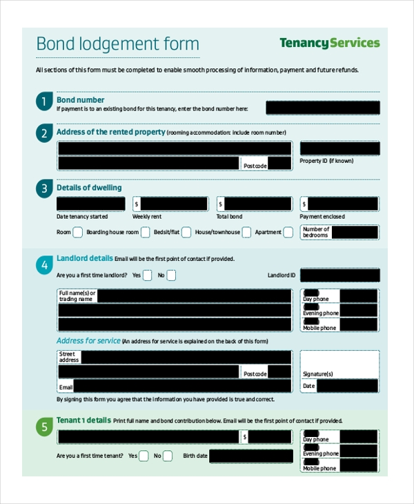 landlord bond form