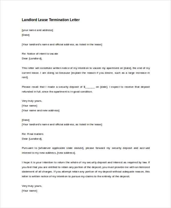 landlord lease termination letter example - Landlord Lease Termination Letter Sample