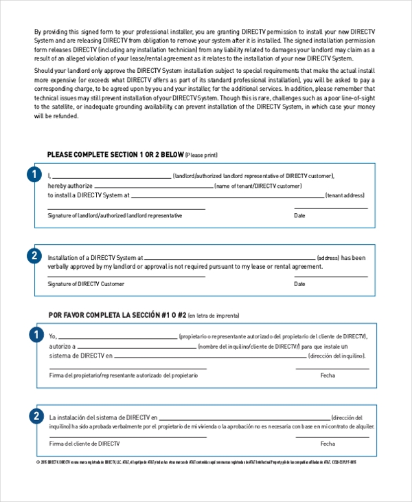 directv landlord permission form Sample Landlord Form - 18  Free Documents in Word, PDF