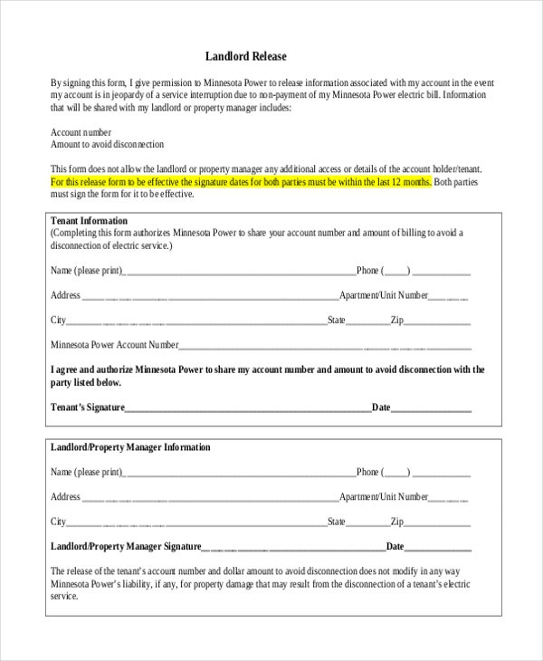 landlord release form