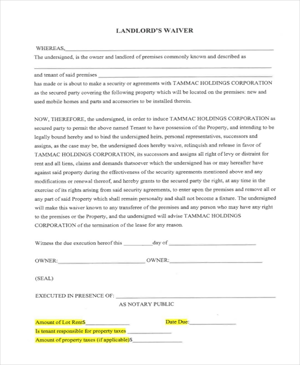 landlord waiver form