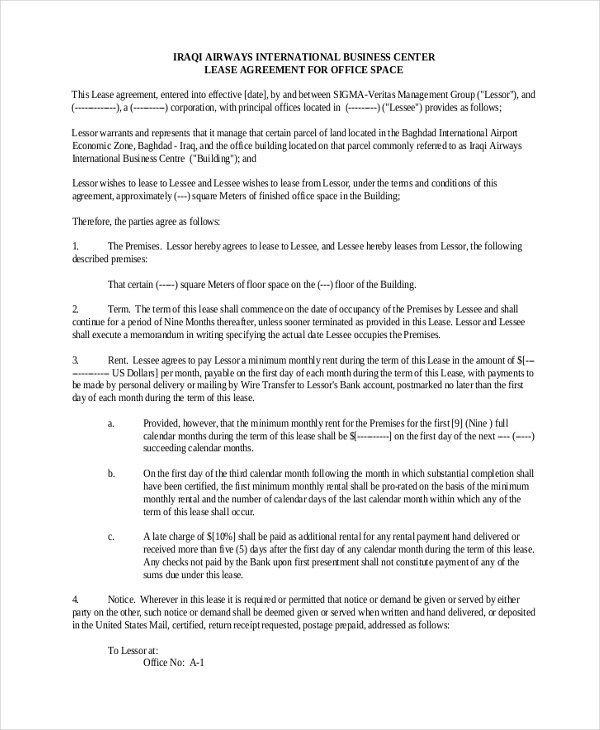 Lease Contract Form For Commercial Space