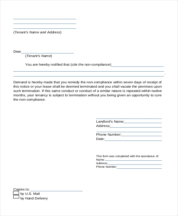 lease termination letter landlord to tenant - Termination Letter For Tenant From Landlord