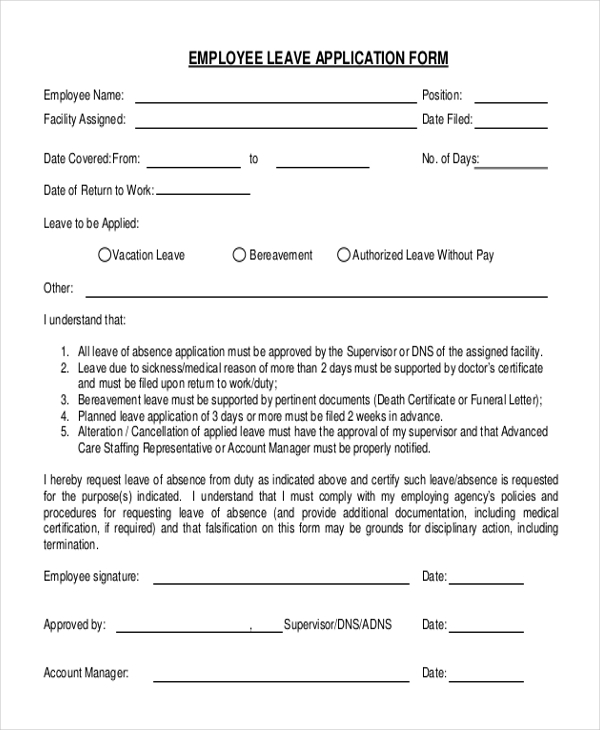 Superb Leave Application Format For Employee Inside Employee Leave Application Form