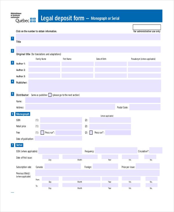 legal deposit form