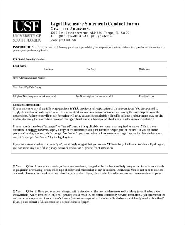 legal disclosure form