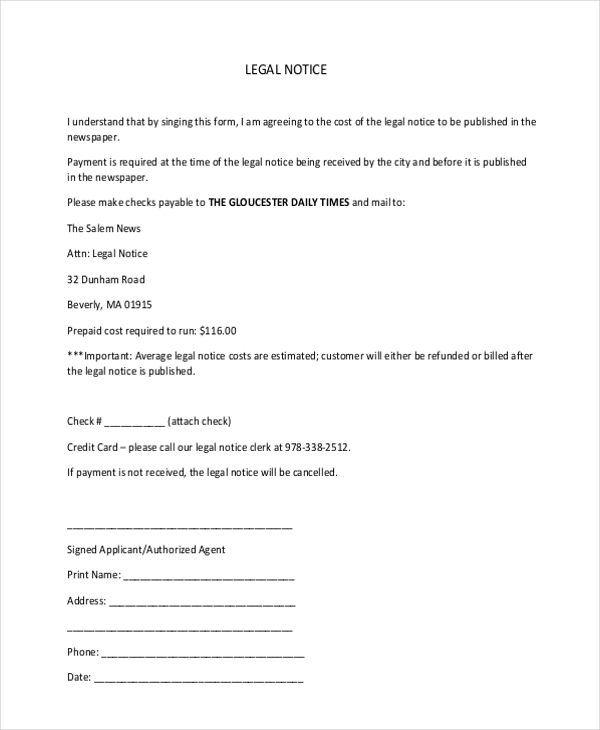 legal notice form