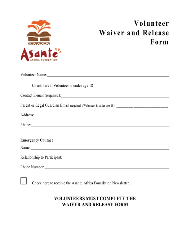 legal waiver form