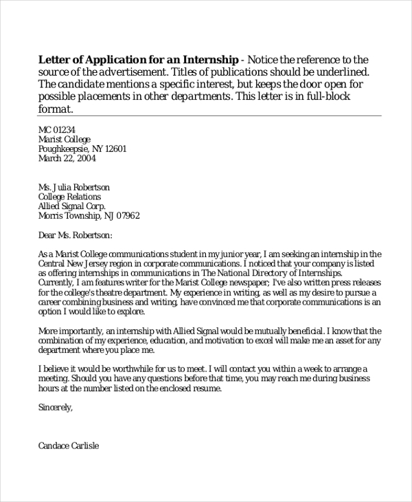 letter of application for an internship