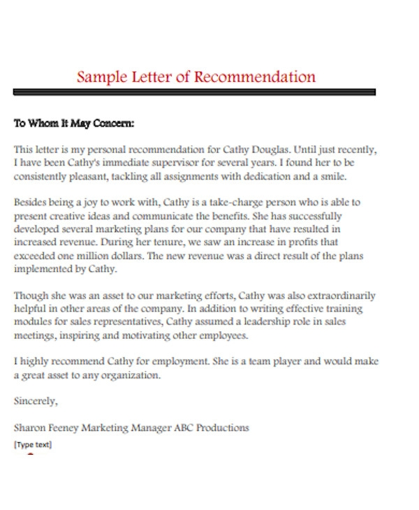 letter of personal recommendation for employment
