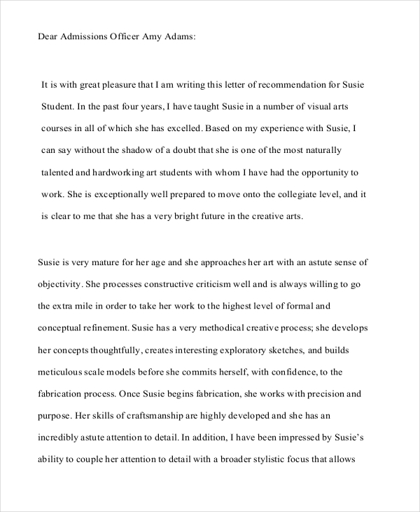 College Application Letter Of Recommendation Sample  Best Custom