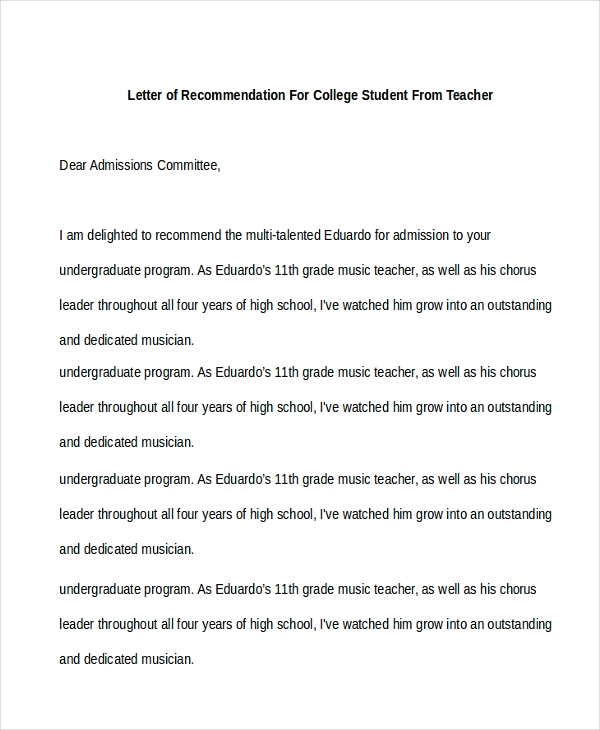 High School Letter Of Recommendation For College