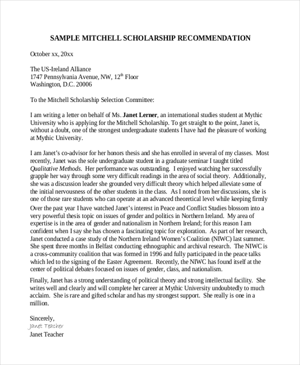 Sample letter of recommendation format 8 free documents in pdf doc letter of recommendation scholarship format spiritdancerdesigns