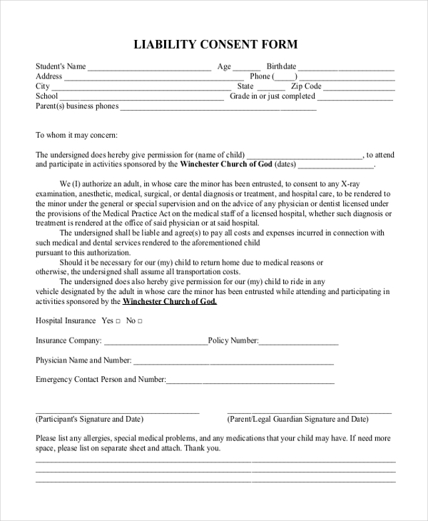 Liability Consent Form