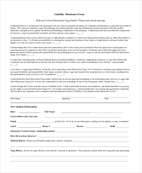 Liability Disclosure Form