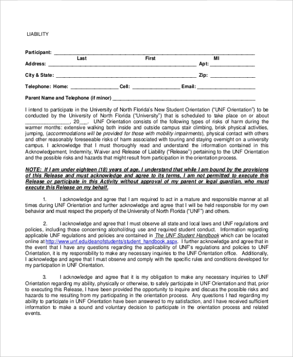 Liability Form Template