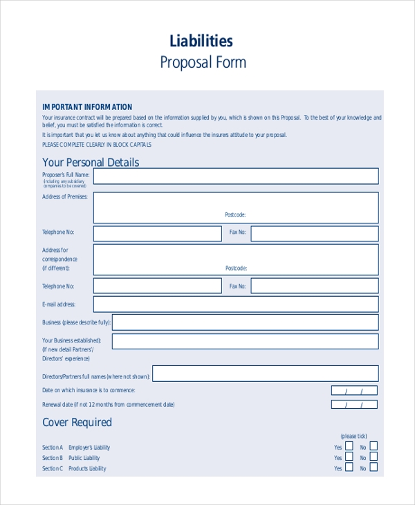 liability proposal form