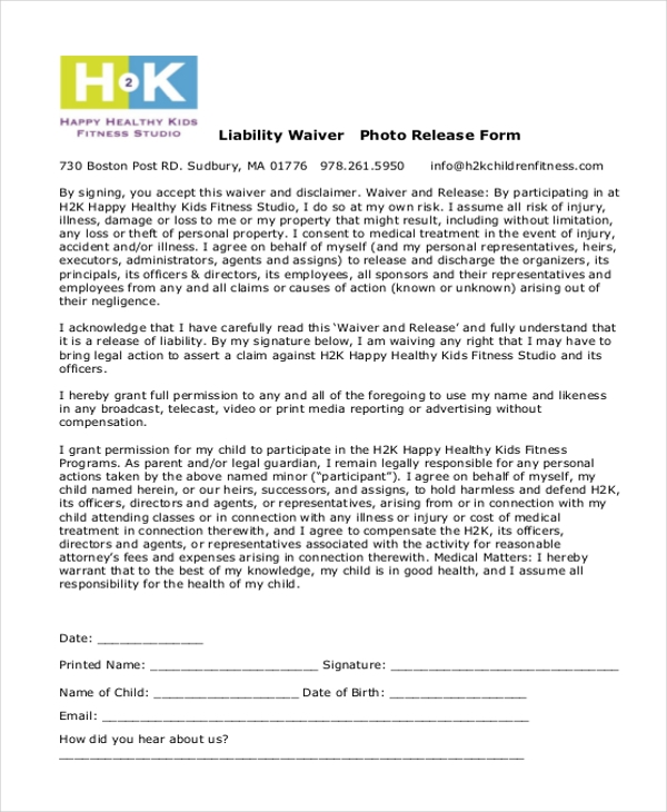 liability waiver photo release form