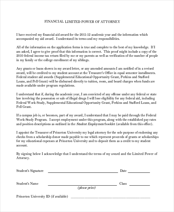 Sample Limited Power Of Attorney Form   Free Documents In Doc Pdf