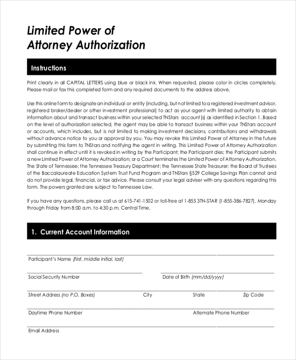 limited power of attorney authorization