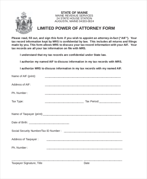 Sample Power Of Attorney Form   Free Documents In Doc Pdf