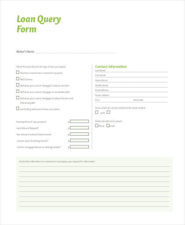 loan query form