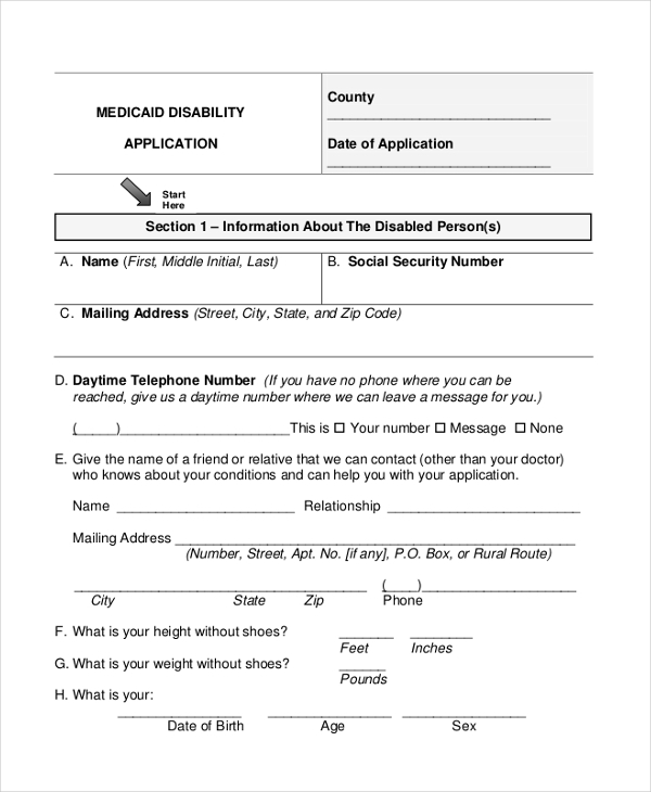 medicaid disability form