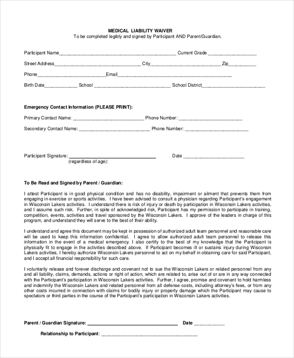 Beautiful Medical Liability Waiver  Liability Waiver Form