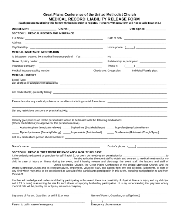 medical record liability release form