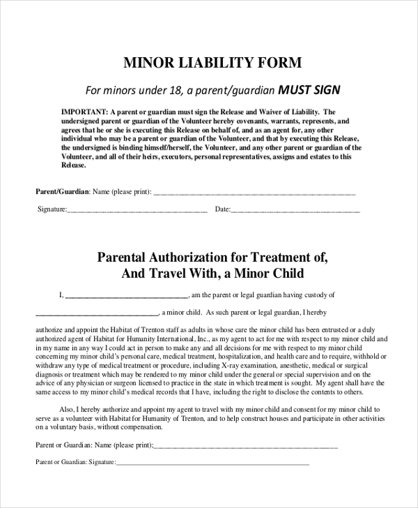 minor general liability form
