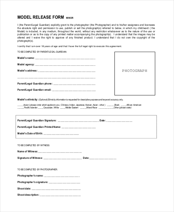 model release form for minors