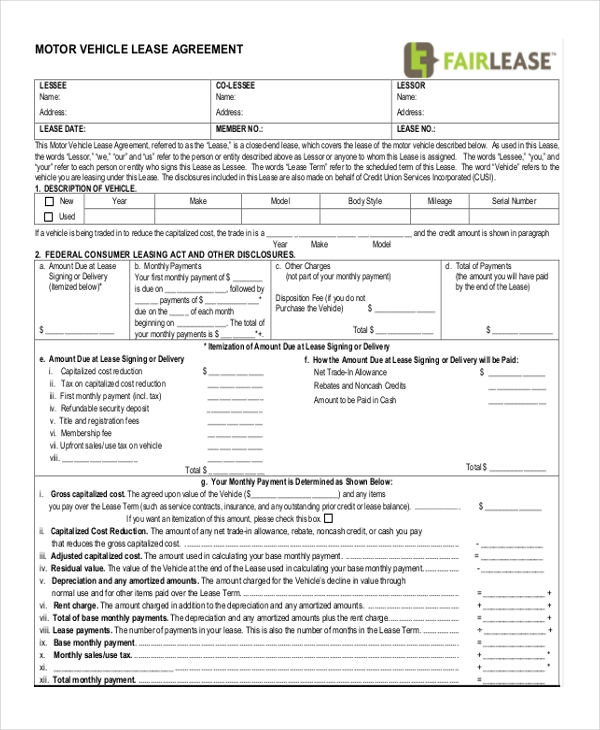 Sample Lease Agreement Form 9 Free Documents in Doc PDF – Sample Car Lease Agreement