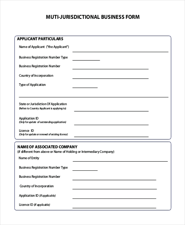 multi jurisdictional business form
