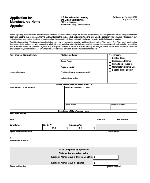 Manufactured Home Appraisal Form  Free Appraisal Forms