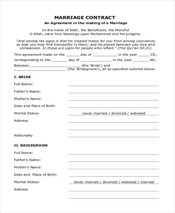 Sample marriage contract form 8 free documents in doc pdf marriage contract form thecheapjerseys Image collections