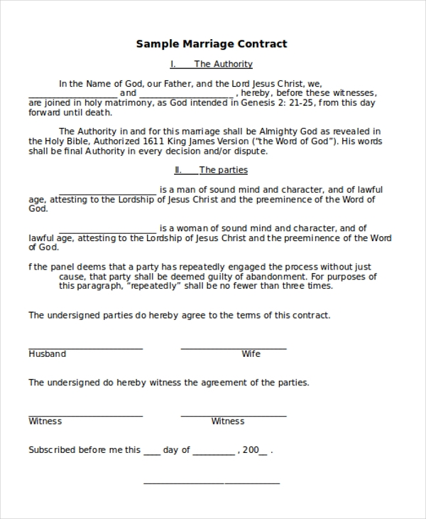 ... Marriage Contract Template By Sle Marriage Contract Form 8 Free  Documents In Doc Pdf ...