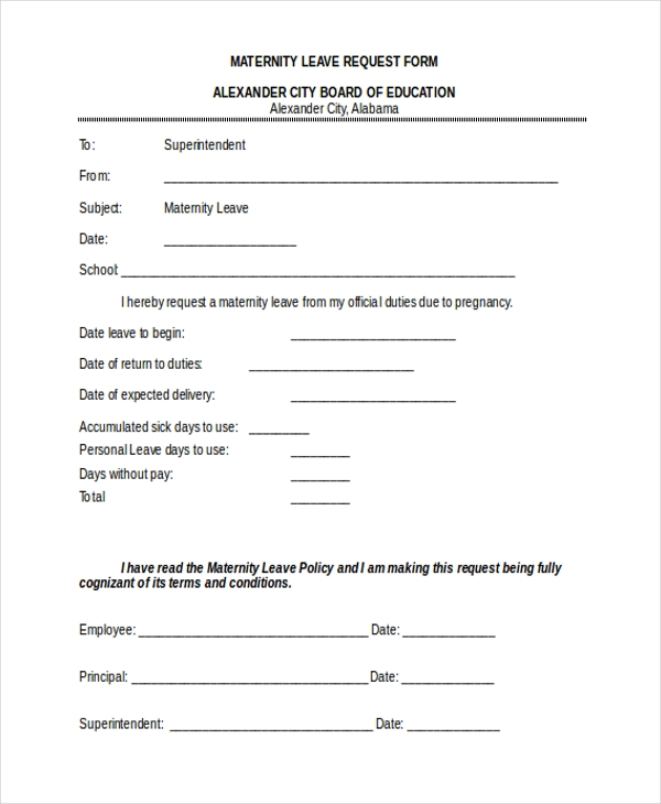 maternity leave request form