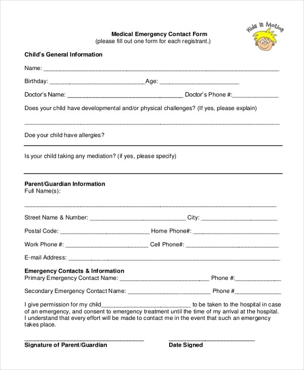 medical emergency contact form